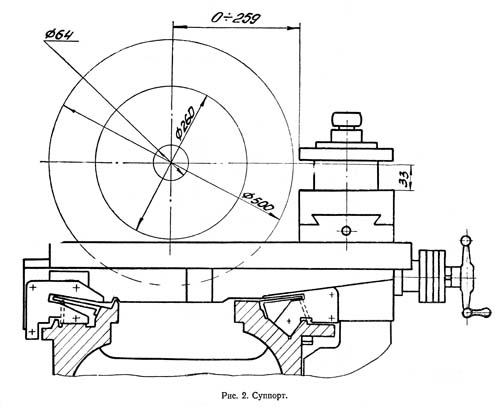 Габарит рабочего пространства универсального токарно-винторезного станка 16Б25ПСп