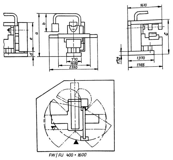 FU-400, FU-315 Габаритные размеры широкоуниверсального консольно-фрезерного станка