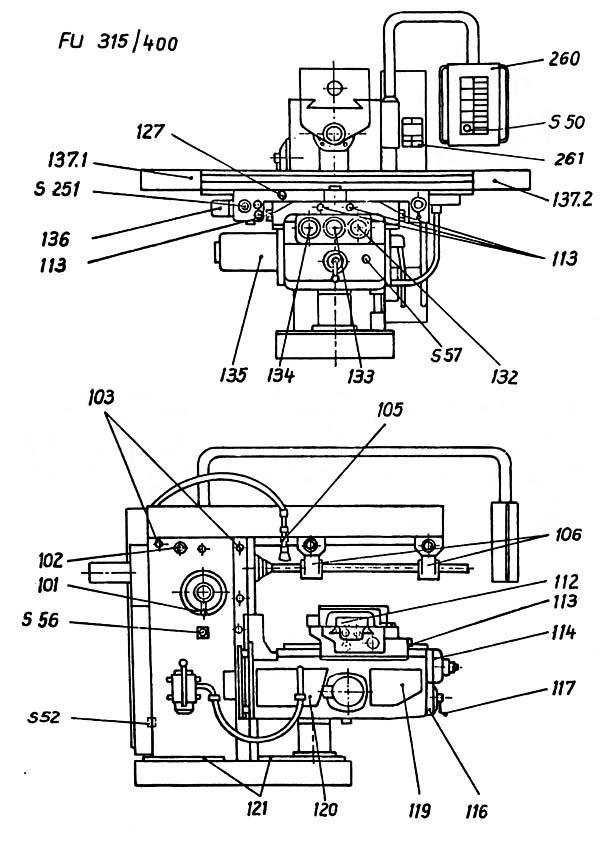 FU-400, FU-315 Расположение органов управления консольно-фрезерным станком
