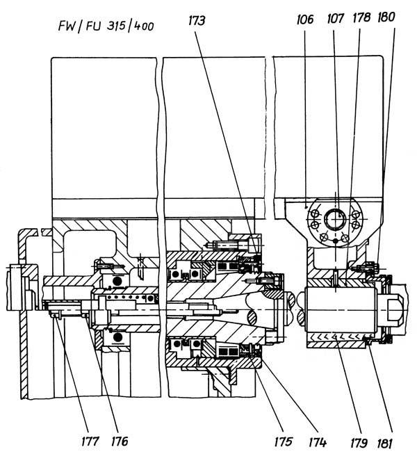 FU-400, FU-315 Фрезерный шпиндель консольно-фрезерного станка
