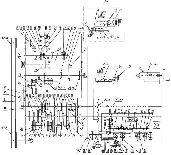 Кинематическая схема универсального токарно-винторезного станка ГС526У
