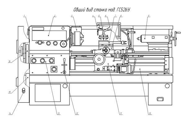 Расположение основных узлов токарно-винторезного станка ГС526У