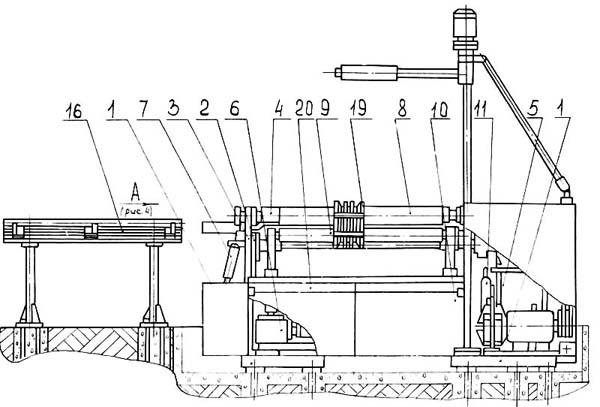 ИБ 2222 Расположение составных частей трехвалковой листогибочной машины