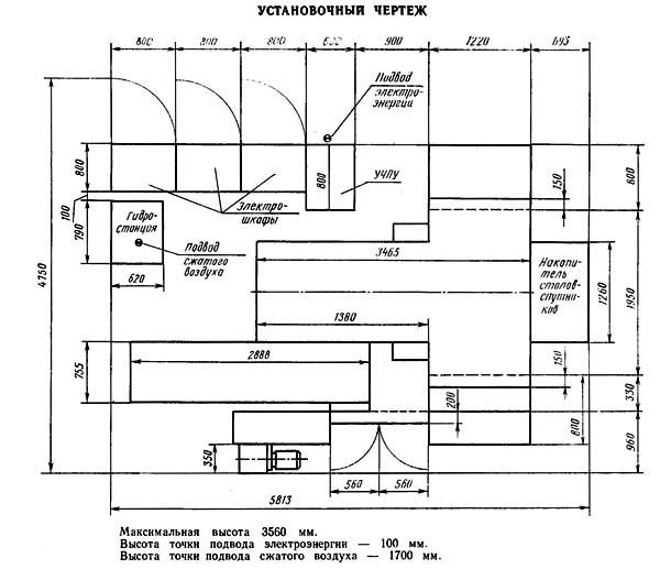 ИР500 Установочный чертеж многоцелевого горизонтального фрезерного центра с ЧПУ и АСИ