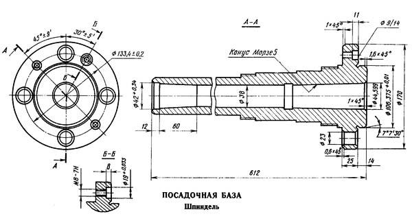 Посадочные и присоединительные базы токарно-винторезного станка ИТ-1М, ИТ-1ГМ. Шпиндель