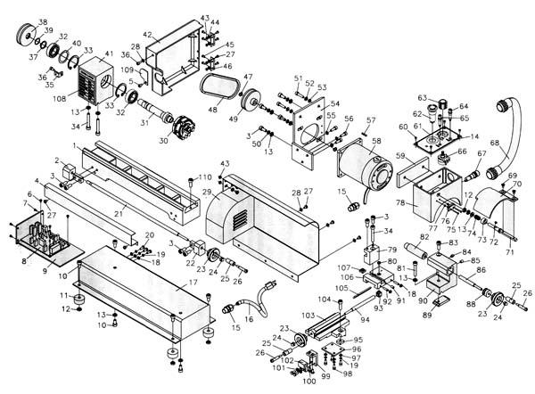 Jet BD-3 Схема сборки токарного станка