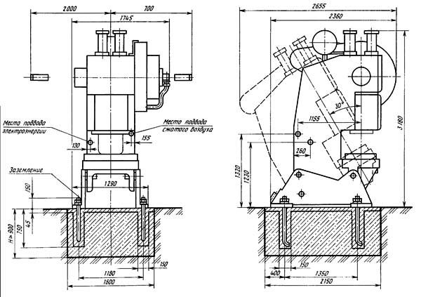 Габаритные размеры однокривошипного пресса КЕ2330А открытого наклоняемого