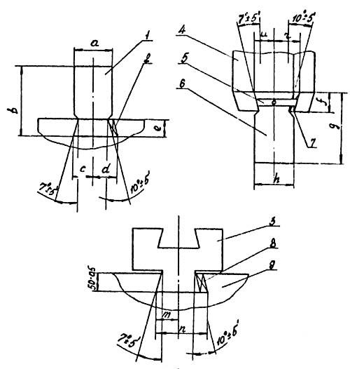 МА4129А Установочные размеры бойков молота