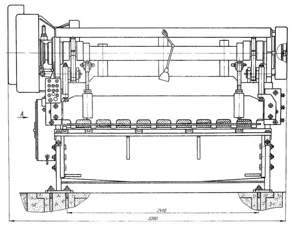Н3121 Габарит рабочего пространства и чертеж общего вида ножниц