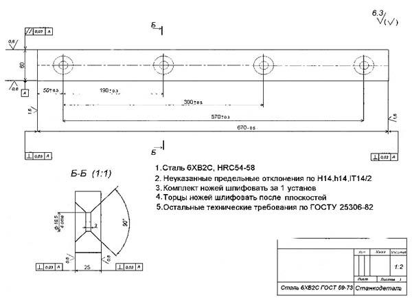 Нож гильотинных ножниц НГ-13, НГ-16