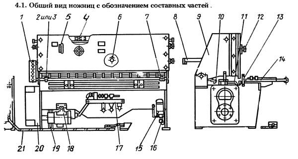 НК-3418 Составные части гильотинных ножниц