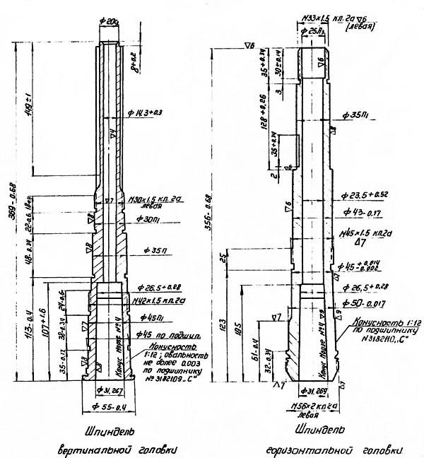 Присоединительные базы станка ОФ-55 (оф55). Горизонтальный шпиндель и шпиндель вертикальной головки ОФ-55