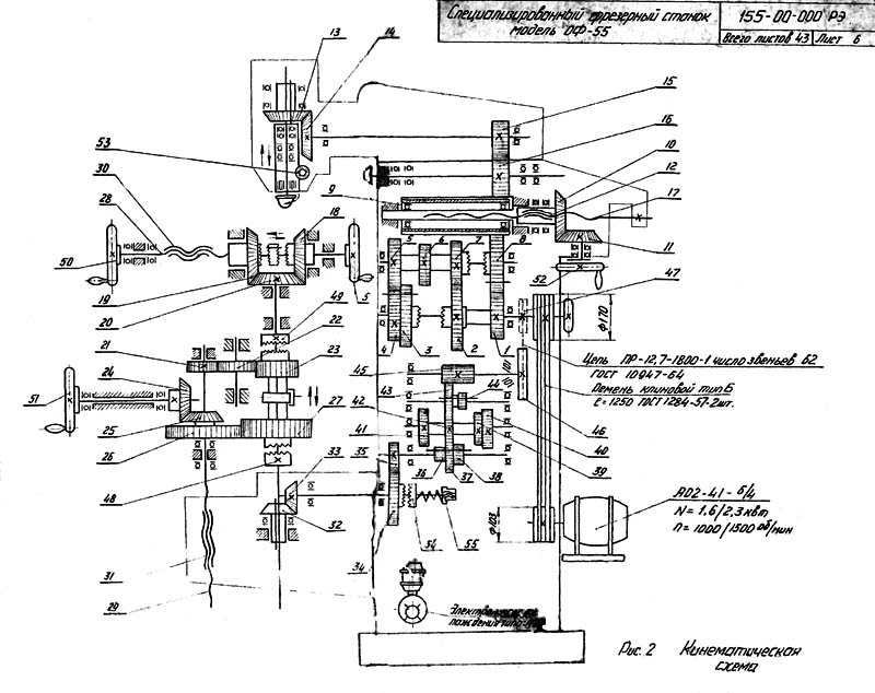 Схема кинематическая универсального фрезерного станка ОФ-55