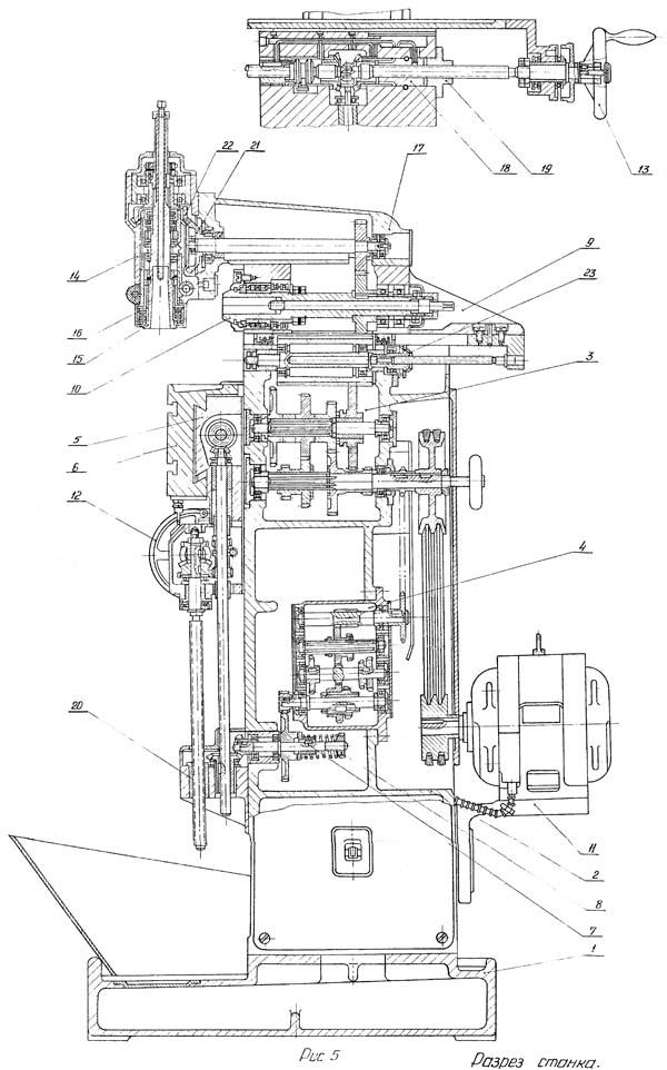 Разрез универсального фрезерного станка ОФ-55