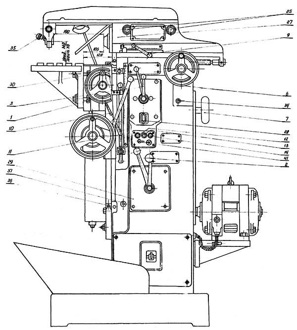 Схема органов управления фрезерного станка ОФ-55