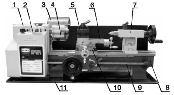 SM-300E Расположение составных частей токарного станка