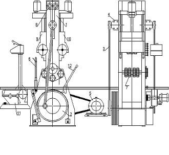Расположение составных частей лесопильной рамы Р63-4Б