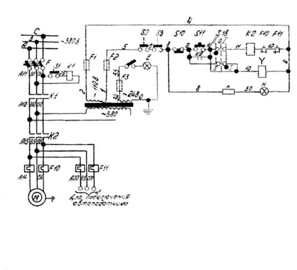 Схема электрическая фуговального станка СФ-4