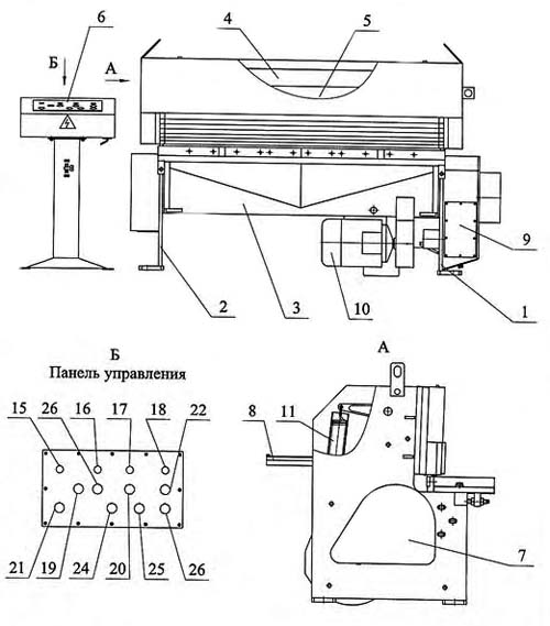 СТД 9А Составные части гильотинных ножниц