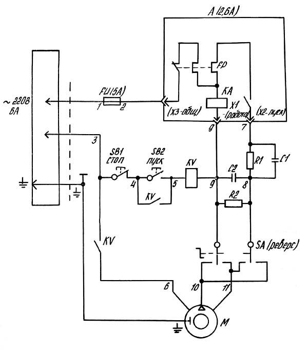 ТН-1М Схема электрическая токарно-винторезного станка
