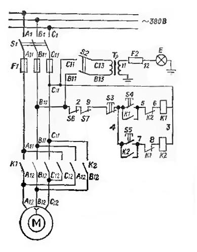 ТВ6 Схема электрическая токарно-винторезного станка