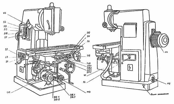 ВМ127 (ВМ-127) Органы управления cтанком вертикальным консольно-фрезерным