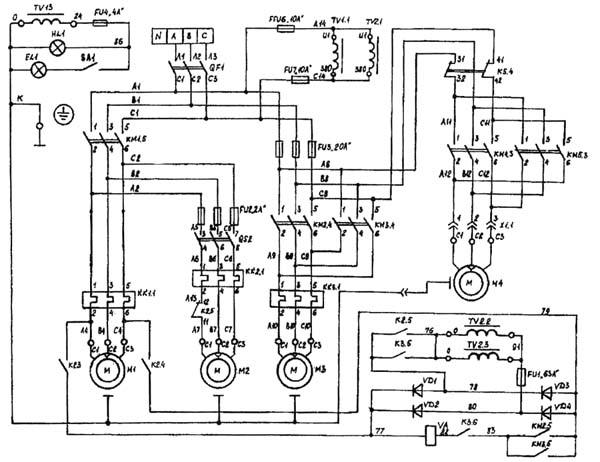 Силовая часть электрической схемы cтанка вертикального консольно-фрезерного ВМ127М
