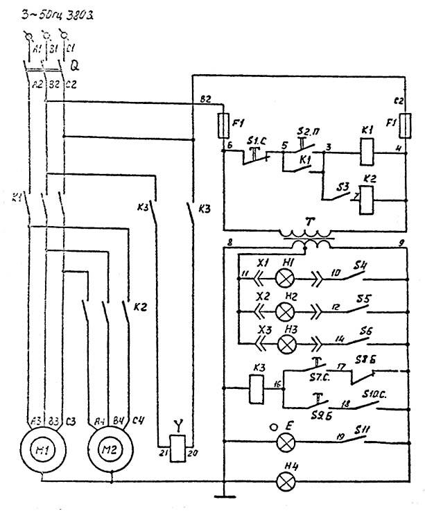 Схема электрическая фрезерного станка ВМ-130
