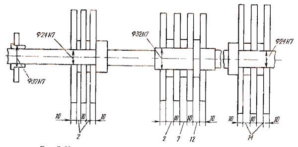 Установочные размеры кулачкоа на распределительном валу токарного станка 11Т16А