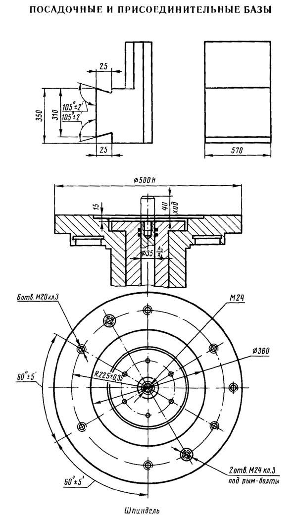 1286-6 Посадочные и присоединительные базы токарного станка 1286-6. Шпиндель