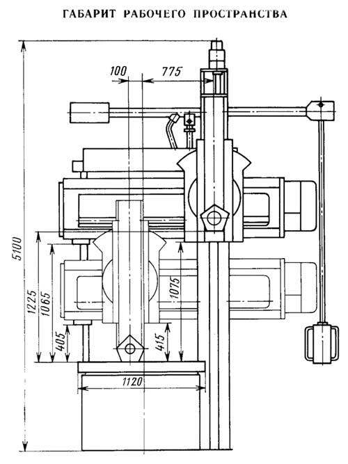 1512Ф3 Габарит рабочего пространства и чертеж общего вида токарного карусельного станка