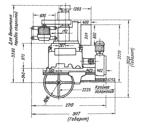 1531М Габаритные размеры токарно-карусельного станка в плане
