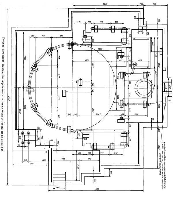 Чертеж фундамента токарно-карусельного станка 1540Ф1