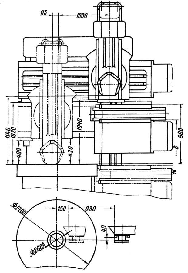 1541 Габарит рабочего пространства и чертеж общего вида станка