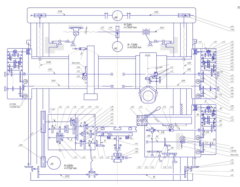 Схема кинематическая токарного карусельного станка 1553. Смотреть в  увеличенном масштабе