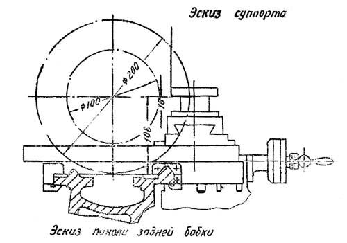1604 Габаритные размеры рабочего пространства токарно-винторезного станка