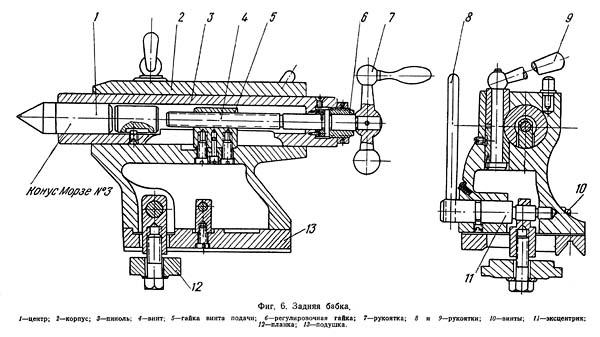 Задняя бабка токарно-винторезного станка 1612п, 1612в