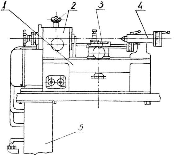 16Т02П Расположение составных частей токарно-винторезного станка