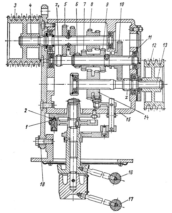 1а616, 1А616п, 1А616к Коробка скоростей токарно-винторезного станка