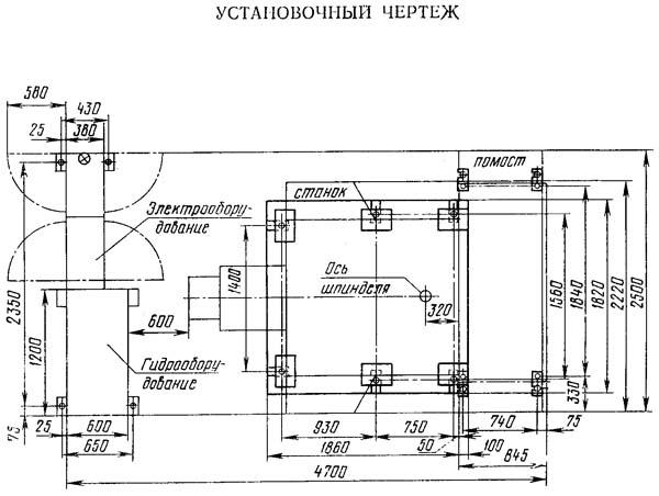 1А734Ф3 Установочный чертеж токарного станка