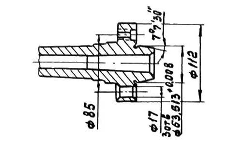 1У61 Габаритные, посадочные и присоединительные размеры шпинделя токарного станка