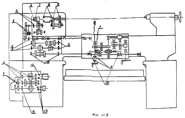 Схема кинематическая токарно-винторезного станка 1У61