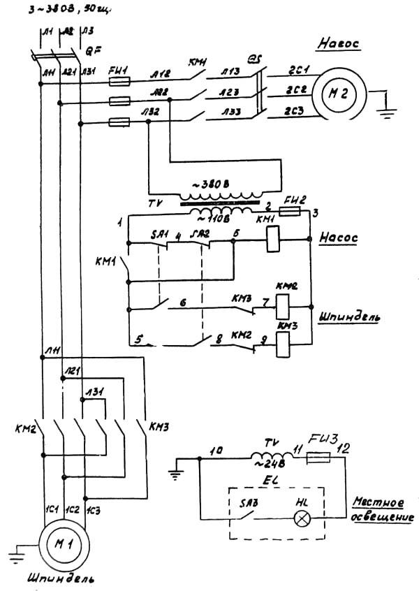 Схема электрическая токарно-винторезного станка 1У61