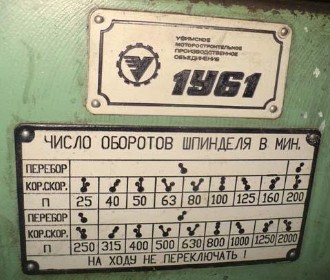 Настройка оборотов шпинделя токарного станка 1У61
