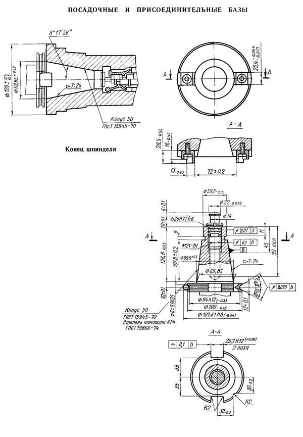 2204ВМФ4 Посадочные и присоединительные размеры горизонтального сверлильно-фрезерно-расточного станка. Конец шпинделя. Конец инструмента