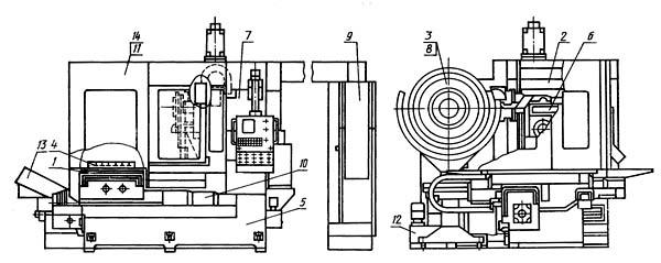 2206ВМФ4 Расположение составных частей горизонтального сверлильно-фрезерно-расточного станка