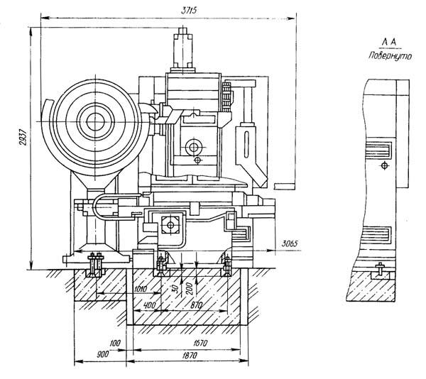Установочный чертеж станка горизонтального сверлильно-фрезерно-расточного станка 2206ВМФ4