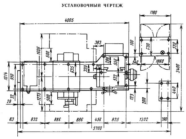 2620В Установочный чертеж схема горизонтально-расточного станка
