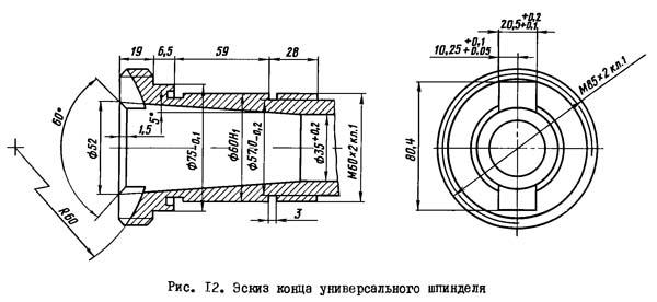 2А78Н Эскиз конца универсального шпинделя отделочно-расточного станка 2А78Н