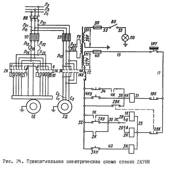 2А78Н Электическая схема отделочно-расточного станка